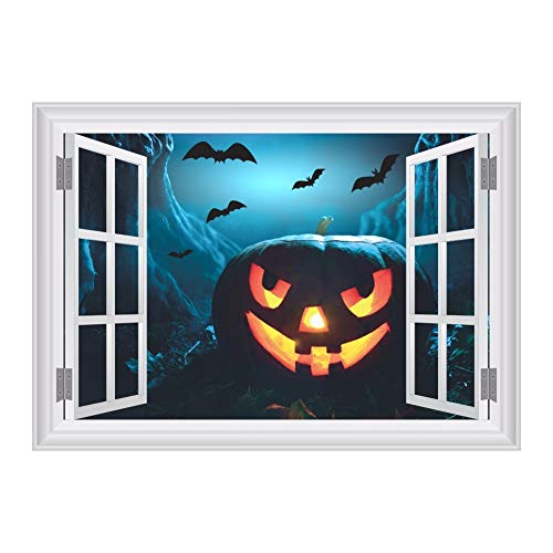 BZQTHXK 3D Fake Window Scared Bat Sky Pumpkin Head Wall Stickers for Halloween Party Decoration Living Room Bar Club Wall Decals