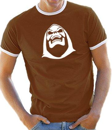 Skeletor Face Brown Retro Ringer T-shirt for Men