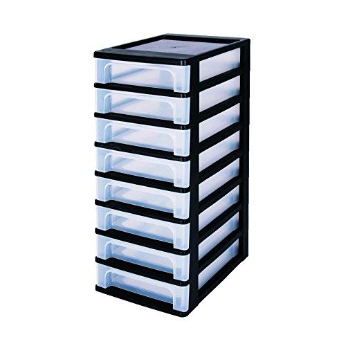 Iris, Schubladencontainer mit 8 Kleine Schubladen \'Organizer Chest\', OCH-2080, Schwarz/Transparent, Kunststoff, 35,5 x 26 x 65,5 cm