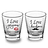 iKraft I Love Gorgeous and Handsome Love Quotes Clear Shot Glass Set-Gift for Love Wedding Couple, Parties