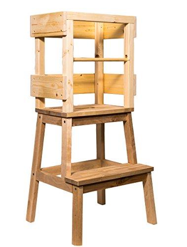 Lernturm by Deskiturm mit zusätzlicher Rausfallschutzstange, unbehandelt und bereits fertig montiert, Learning Tower Learningtower Lerntower Steherhöhung Lernstuhl Handarbeit Montessori