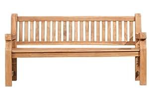 CLP Wetterfeste Gartenbank Jackson aus massivem Teakholz I Holzbank mit ergonomischer Sitzfläche I In verschiedenen Größen erhältlich 120x60 cm