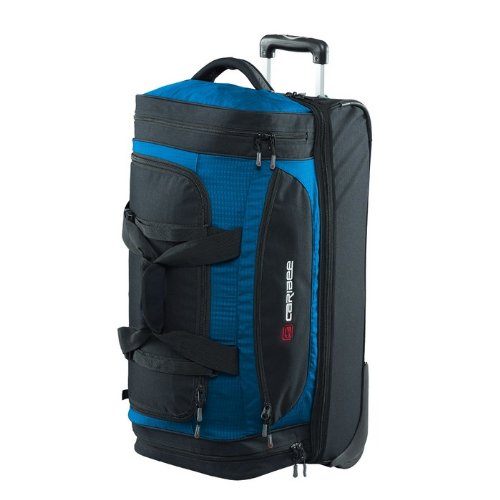 Caribee Scarecrow DX70 - 75L Reisetasche/Trolley mit geteiltem Hauptfach, Schuhabteil, All-Terrain Rollen und Gleitschienen auf der Unterseite - Ideal für Reisen oder Urlaub, Farbe: Atomic Blue