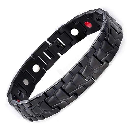 Fenglig Herren Silber Armband Magnetic Geometric Armband Edelstahl Quantum Armband für Arthritis Pain Relief,Black -