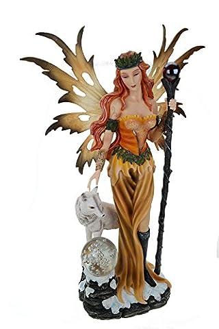 Élégant motif loup xXL motif fée avec boule et éclairage lED fairy statuette de fée