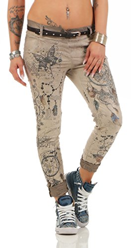 ZARMEXX Damen Boyfriend Baggy Hose Jeanshose Jeggings Stretch Chinohose mit Gürtel Dream Catcher-Butterfly Print (XXL(44), cappuccino)