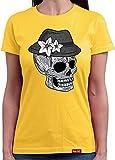 HARIZ  Damen T-Shirt Rundhals Totenkopf Mit Wiesn Hut Vintage Oktoberfest Wiesn Herzl Tracht Dirndl Lederhose Inkl. Geschenk Karte Gold M