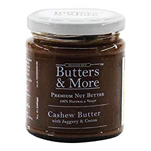 Butters & More Vegan Cashew Butter with Dark Cocoa & Organic Palm Jaggery (200G). Healthy Chocolate Spread. No Artificial Flavours, No Refined Sugar.