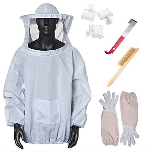 Bienenenzucht-Schutzjacke, Insektenfuttermittel, hält Imkerausrüstung und Schleier mit Handschuhen, Bienenenholz-Werkzeugen und Bienenenstock-Bürste -