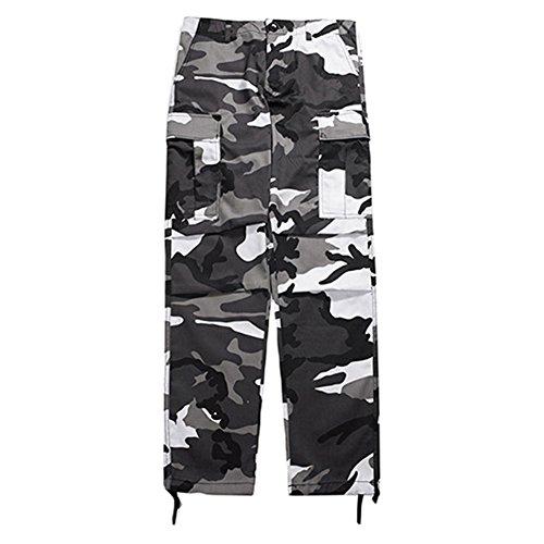 Juleya Cargo Pants Männer Frauen Camouflage Hose Lose Hip Hop Sweatpants Schwarz & Grau XL (Hosen Lose Damen)