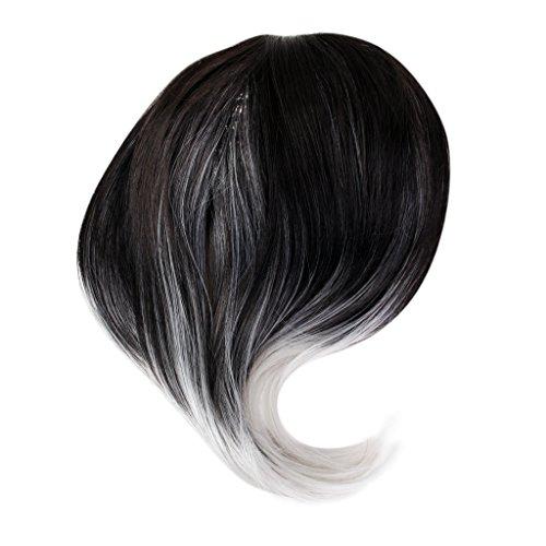 Perruque Synthétique Droite Couleur Perruque Noire Ombre Fibre Grise Mixte Dames 40