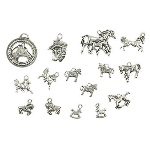 Blesiya Silber Verschiedenen Pferd Charms Anhänger Perlen aus Legierung Set/15Stück