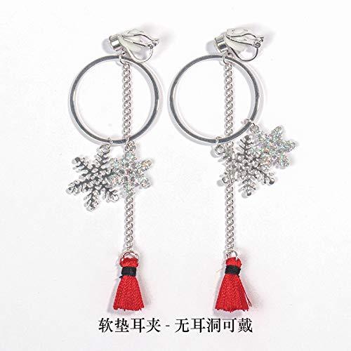 rringe Japan Südkorea Super Flash Diamant Ohrringe Gefälschte Ohrringe Rot Lange Fringe Ohrclips ohne Ohren Kreise Schneeflocke Frauen, Polster Ohrclips ()