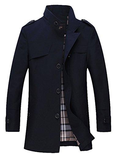 MatchLife Homme Trench Coat Style Veste Affaires Col en V et Col Rond Style3-Bleu Marin