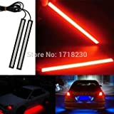 #8: Bikers World Red Waterproof Ultra Thin Cob Chip Led DRL Fog Light Lamp Daytime Ruining Light 17 cm For All Cars