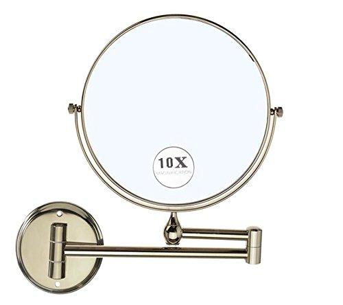 Lnxd 8po 10X Miroir double face grossissant Extension Murale ronde pliante miroir de maquillage miroirs de salle de bain Vintage,patine