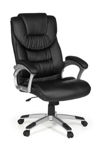 FineBuy Bürostuhl MADY Bezug Kunstleder Schwarz Schreibtischstuhl Design X-XL 120 kg Chefsessel Wippfunktion ergonomisch Polster Drehstuhl hohe Rücken-Lehne höhenverstellbar mit Armlehnen Hochlehner