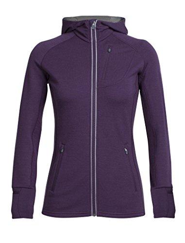 Rv-damen-sweatshirt (Icebreaker Damen Quantum Long Sleeve Zip Hood Jacke, Eggplant/Gritstone Hthr, XS)