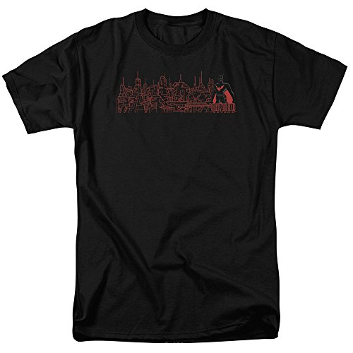 Trevco Herren Batman Beyond Neo Gotham Skyline Short Sleeve Adult T-Shirt, Black, X-Groß (Black Adult Movies)