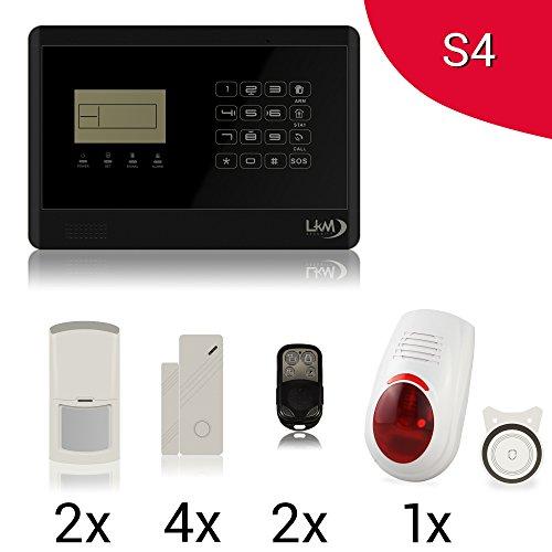 LKM Security M2E Alarmanlage Komplettset | 2x Bewegungsmelder, 4x Türkontakt, 2x Fernbedienung, Sirene Set, LCD Touch Steuereinheit | 110dB | Haus | Smart Home | GSM | Android - iOS App | schwarz