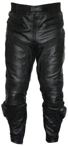 German Wear, Motorradhose Motorrad Biker Lederhose mit Slider Schwarz, Größe:56