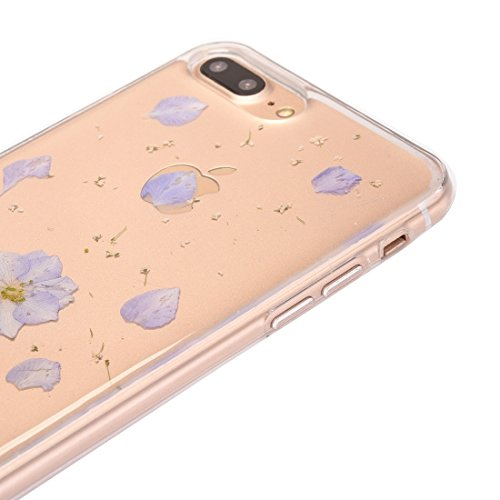 Hülle für iPhone 7 plus , Schutzhülle Für iPhone 7 Plus Epoxy Dripping gepresste echte getrocknete Blume weichen transparenten TPU Schutzhülle ,hülle für iPhone 7 plus , case for iphone 7 plus ( SKU : Ip7p0996m