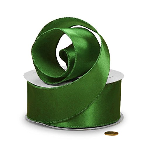 Paper Mart Emerald Green Cast-Over Wired Satin Ribbon, 1-1/2 X 25Yd -