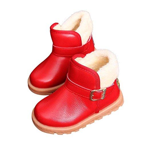Kleinkinder Mädchen Jungen Baby Schnee Stiefel mingfa Winter Keep Warm dicker Erste Walking Schuhe für Kinder Kind, 1-6Jahren Age:1T rot