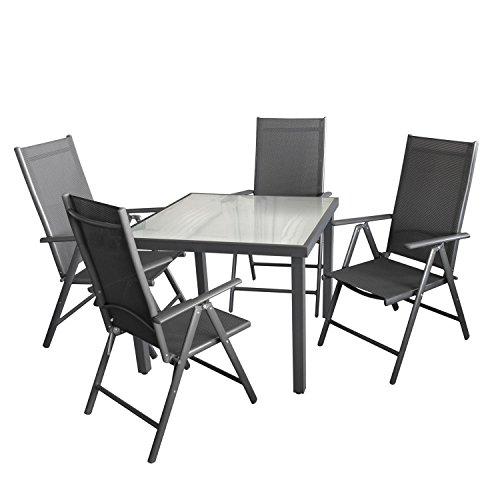 5tlg. Gartengarnitur Aluminium Glastisch mit satinierter Tischglasplatte 90x90cm + Alu Hochlehner mit 2x2 Textilenbespannung 7 Positionen verstellbar Sitzgruppe Sitzgarnitur Gartenmöbel Set