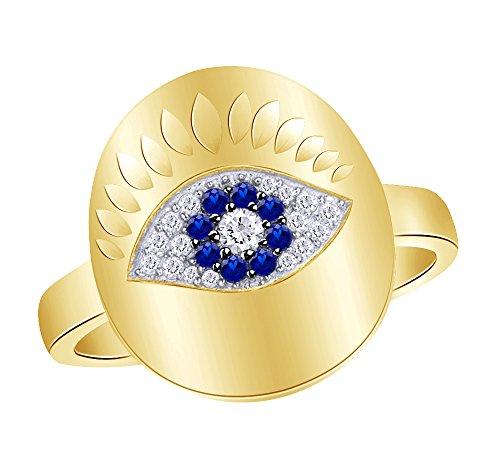 Wishrocks taglio rotondo simulato blu zaffiro con zircone evil eye anello in oro 18ct su argento sterling e argento placcato oro giallo 18 ct, 9,5, colore: yellow, cod. uk-ap18631-ysl-j 1/2