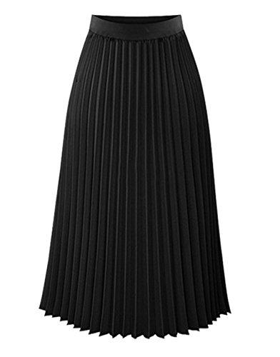 Jixin4you Jupe Longue Femme Eté Dame Mousseline de Soie Taille Haute Plage Voyage Plissée Noir