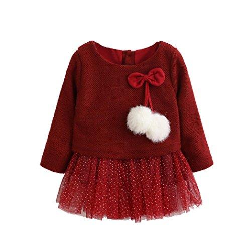 OVERDOSE Kleinkind Baby Kind Mädchen Langarm Gestrickte Bogen Neugeborenen Tutu Prinzessin Kleid 0-24 Monate(12-18 Monate,A-Rot)