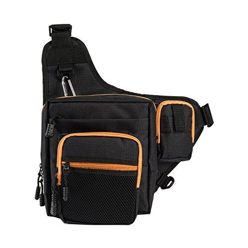 SUNVP Fliegenfischen Tackle Lagerung Schulterriemen Crossbody Messenger Bag Rucksack für Outdoor Sport Wandern Reisen Black
