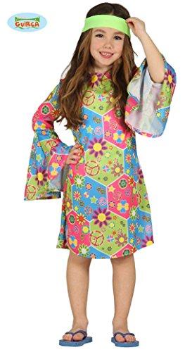 Kostüm Hippie Mädchen Annelie Kleid Kinderfasching Flower Power (10- 12 Jahre (Gr. 140- 152))