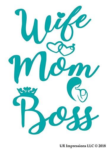 SUPERSTICKI Teal Wife-Mom-Boss Decal Vinyl Sticker Graphics for Cars Trucks SUV Vans Walls Fensters Laptop|Teal|15 X 15 cm|07-T Aufkleber Autoaufkleber Wandtattoo -