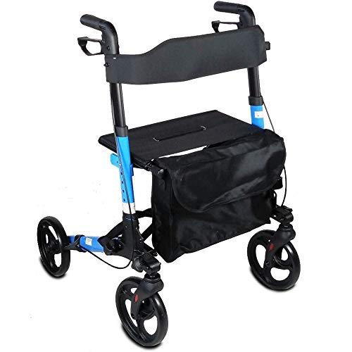 Deambulatore a 4 ruote per anziani | Girello per anziani con altezza regolabilie| Pieghevole |Deluxe con design innovativo | Peso massimo sopportato: 100 Kg | Modello Trajano | Mobiclinic