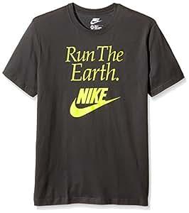 T- Shirt Nike Run The Earth SMALL Gris - Gris foncé