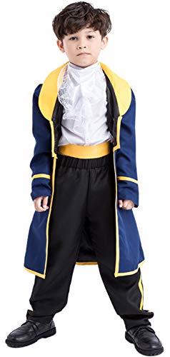 MOMBEBE COSLAND Jungen Prinz Kostüme Anzug (L, Blau)
