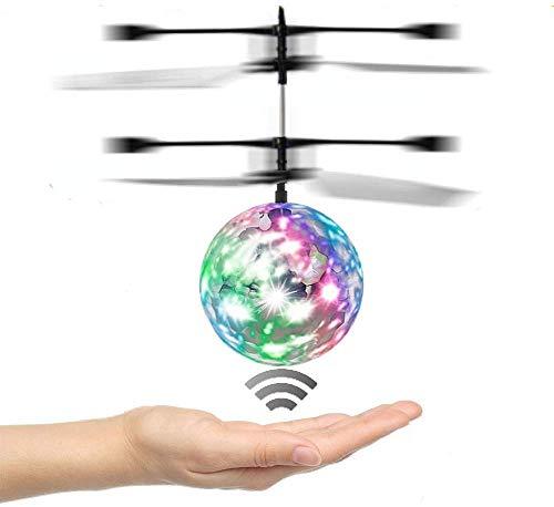 Attoe Fliegender Ball, RC Drohnenspielzeug mit Blinkender LED-Beleuchtung, Handspinner-Hubschrauber-Induktions-Spielzeugball zum Aufleuchten, Shinning-elektronisches Spielzeug für Jugendliche (A)