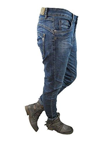Denim Stretch Baggy-Boyfriend-Jeans boyfriend 4 Knöpfe offene Knopfleiste weitere Farben Denim