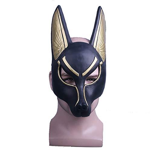 Helm Wolf Kostüm - Henxizucun Vollmaske Maskerade Prom Maske Tod Anubis Maske Halloween Requisiten Schakal Wolf Sennenhund Wolf Kopf Maske Anubis-OneSize,Mask+Headscarf,55~62