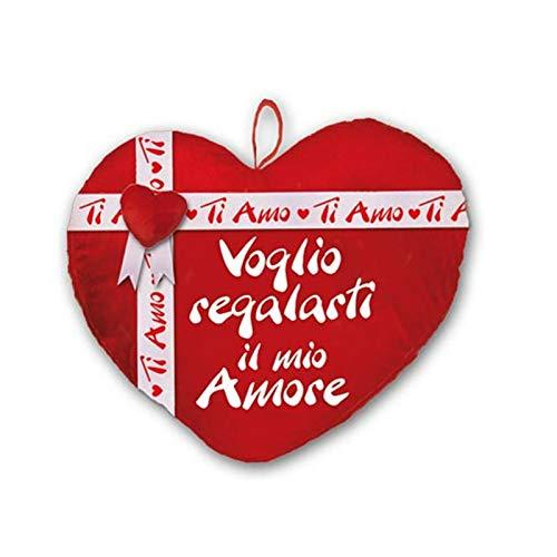 Dor san valentino cuore peluche con fiocco e cuoricino applicato cm 35