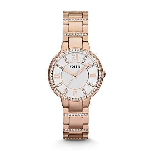 Fossil Damen Analog Quarz Uhr mit Edelstahl beschichtet Armband ES3284
