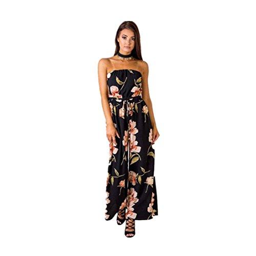 DOLDOA Frauen trägerlos Blumen Spielanzug Damen Spielanzug Lange Overall Hose (Größe: L Fehlschlag: 76-98cm / 29.9