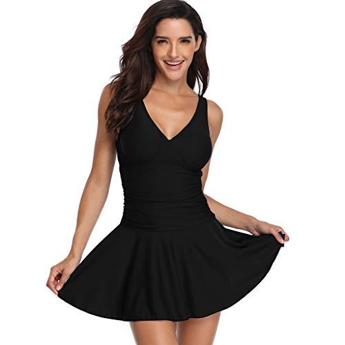 ♥ Loveso♥ Bademode für Damen,Frauen Solide Sommerkleid Frauen Ärmellos Strand Kleid V-Ausschnitt Bademode Pareos & Strandkleider -
