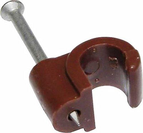 Bulk Hardware BH02713 Runde Kabelklemme 6,0 mm, Braun (Packung à 100), Weiß, Stück