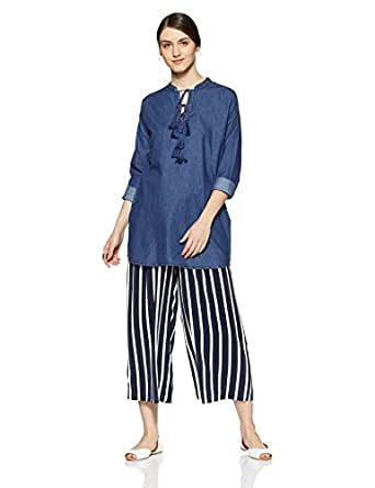Elle Women's Slim Fit Cotton Shirt (EETU0113_Dark Blue_XS)