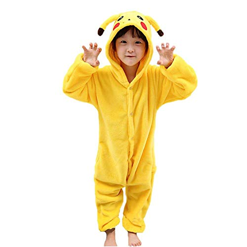 Pyjamas Kinder Erwachsene Einhorn Einteiler Tieranzüge für Junge Mädchen Damen Herren (130, Pikachu Kind) (Kostüm Pikachu Pokemon)