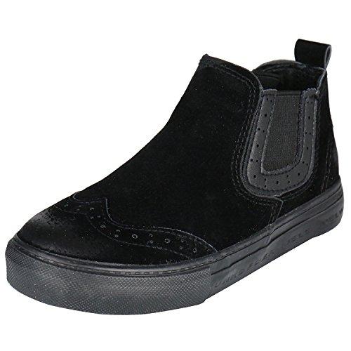 Kentti Unisex-Kinder Stiefel Jungen und Mädchen Wildlederoptik Chelsea Boots Schwarz 28 EU
