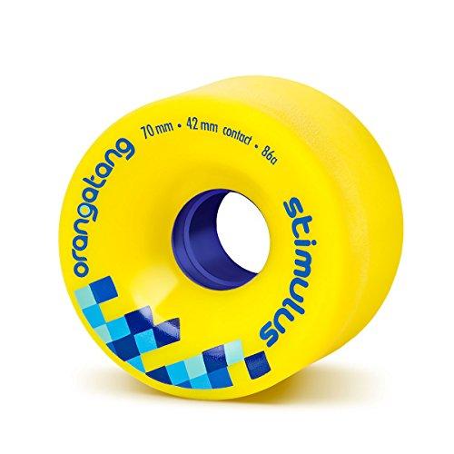 Orangatang Stimulus 70 mm 86a Freeride Longboard Skateboard Wheels (Yellow, Set of 4) -